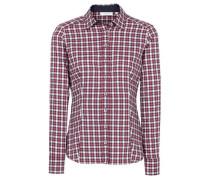Langarm Bluse dunkelblau / rot / weiß