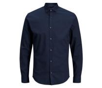 Kentkragen-Langarmhemd blau