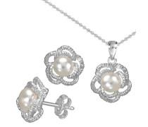 Ohrstecker und Halskette mit Perle (4tlg.) silber