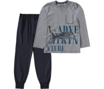 Schlafanzug für Jungen ultramarinblau / grau