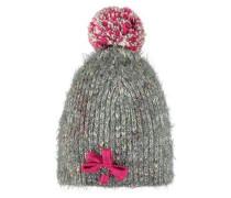 Mütze Strick Bommel mischfarben