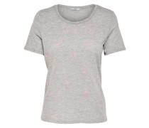 Bedrucktes T-Shirt grau / hellpink