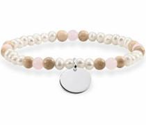 Armband 'Braun Weiß Coin Lba0110-350-7-L' hellbeige / mischfarben / rosa / silber / perlweiß
