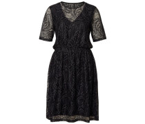 Kleid mit kurzen Ärmeln Spitzen- schwarz