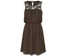 Kleid ohne Ärmel Spitzen oliv