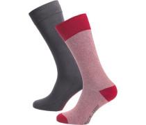 2 Paar Socken anthrazit / rot