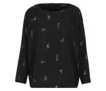 Shirt mit floralem Silber-Print schwarz / silber