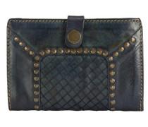 Borchie Con Fiore Geldbörse Leder 15 cm blau