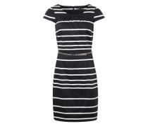 Kleid mit Gürtel schwarz / weiß