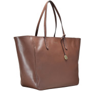 Smooth Cowhide Shopper Tasche Leder 33 cm braun