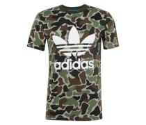 T-Shirt 'camo Trefoil T' braun / khaki / mischfarben