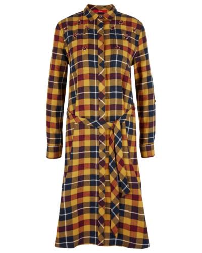 Kleid kobaltblau / safran / rot