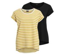 Einfaches T-Shirt 'vidreamers T-Shirt'( 2er-pack) goldgelb / schwarz / weiß