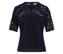 Top Boxy Top Brodery Anglaise nachtblau