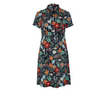 Stehkragen-Kleid mit Rüschen und Schleife mischfarben