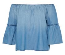 Bluse 'off Shoulder' blau