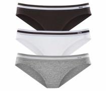 Bikinislips (3 Stück) mit sportlichen Logobund grau / schwarz / weiß