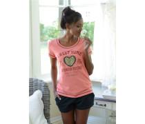 Shorty & süßes Kurzarmshirt pink / schwarz