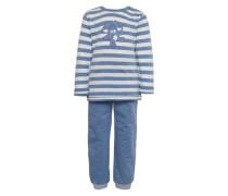 Schlafanzug blau / offwhite