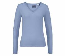 Extrafeiner V-Pullover blue denim