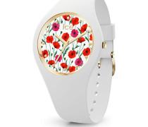 Quarzuhr 'Ice flower - White poppy - Small - 3H 16657'