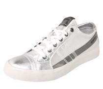Sneaker im Metallic-Look grau / weiß