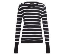 Strickpullover mit Streifen schwarz / weiß