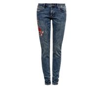 'Sadie' Superskinny: Bestickte Jeans blue denim