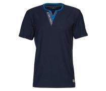 Shirt 'henley with double placket' royalblau / dunkelblau / grau