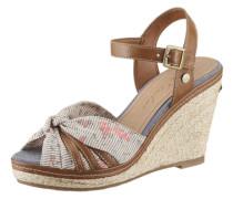 Sandalette mit Keilabsatz beige / braun