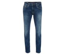 Jeans 'Slim Straight' mit Crinkles blue denim