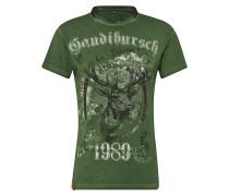 T-Shirt 'b36 Gaudibursch' grün / mischfarben
