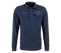 Schmales Garment Dye-Poloshirt blau