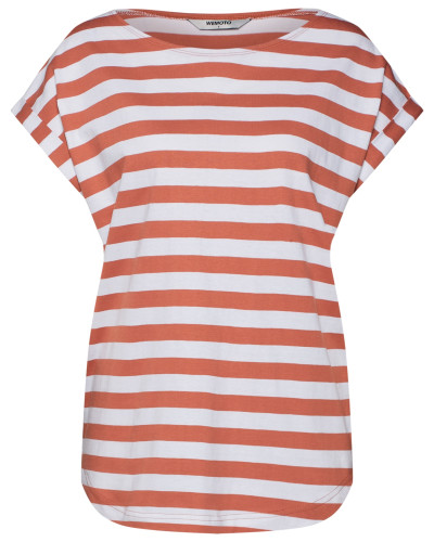 Shirt 'Bell Striped' pfirsich / weiß