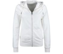 Sweatjacke 'hooded ZIP Jacket Destroy' weiß