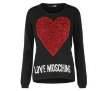 Pullover mit Herz Flockprint rot / schwarz / weiß