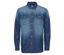 Jeans-Freizeithemd blau