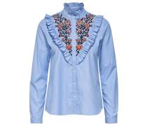 Bestickte Bluse hellblau / mischfarben / weiß