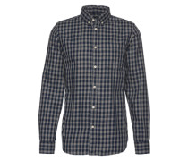 Hemd 'jorgerald Shirt LS' dunkelblau / braunmeliert