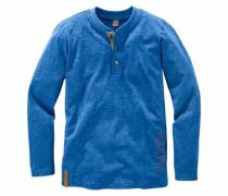 Langarmshirt mit kleiner Knopfleiste blau
