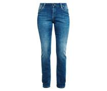 Curvy Slim: Stretchjeans mit Nieten blau