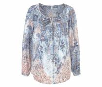 Klassische Bluse 'Saina1' blau / rosé / weiß