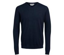 Pullover Eleganter Seidenmix-V-Ausschnitt blau