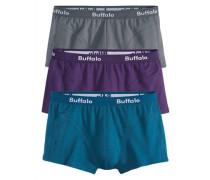 Baumwoll-Hipster (3 Stck.) blue denim / grau / lila
