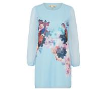 Kleid mit Blumen-Print hellblau