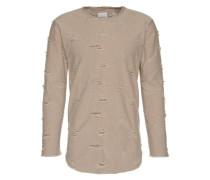 'Torn long oversized' Shirt grau