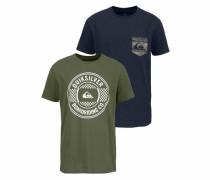 T-Shirt-Set blau / dunkelgrün