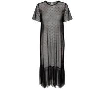Mesh-Kleid mit kurzen Ärmeln schwarz