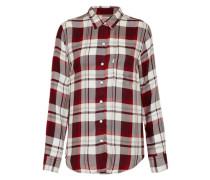 Boyfriend-Hemd aus Denim rot / merlot / offwhite