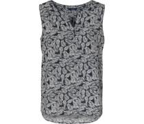 Ärmellose Bluse mit Blätter-Print